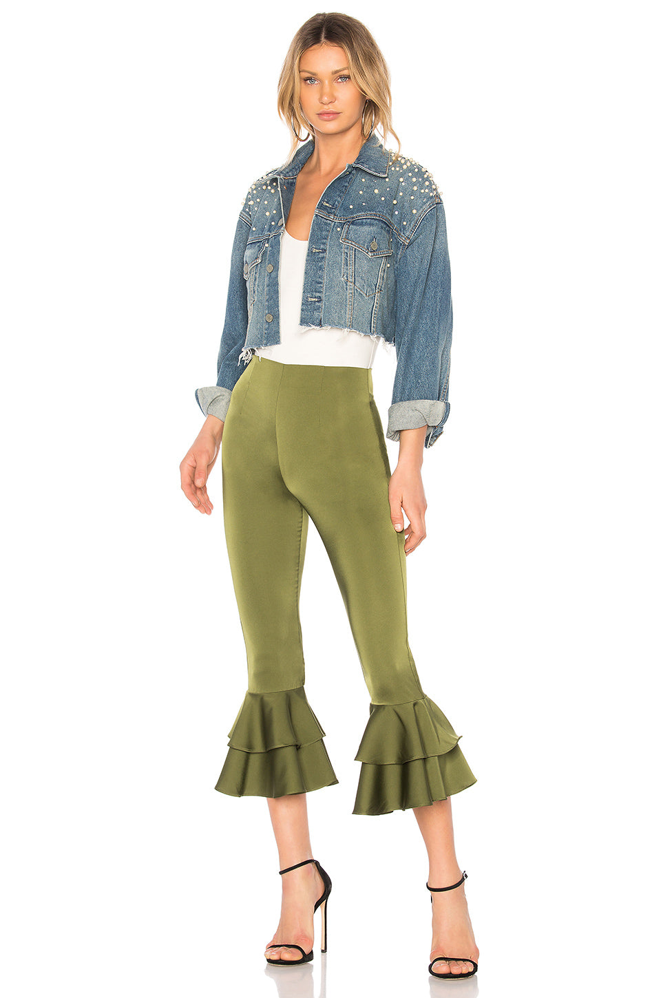 Freja Ruffle Pant in Green. - size M (also in L,S,XS) Tularosa