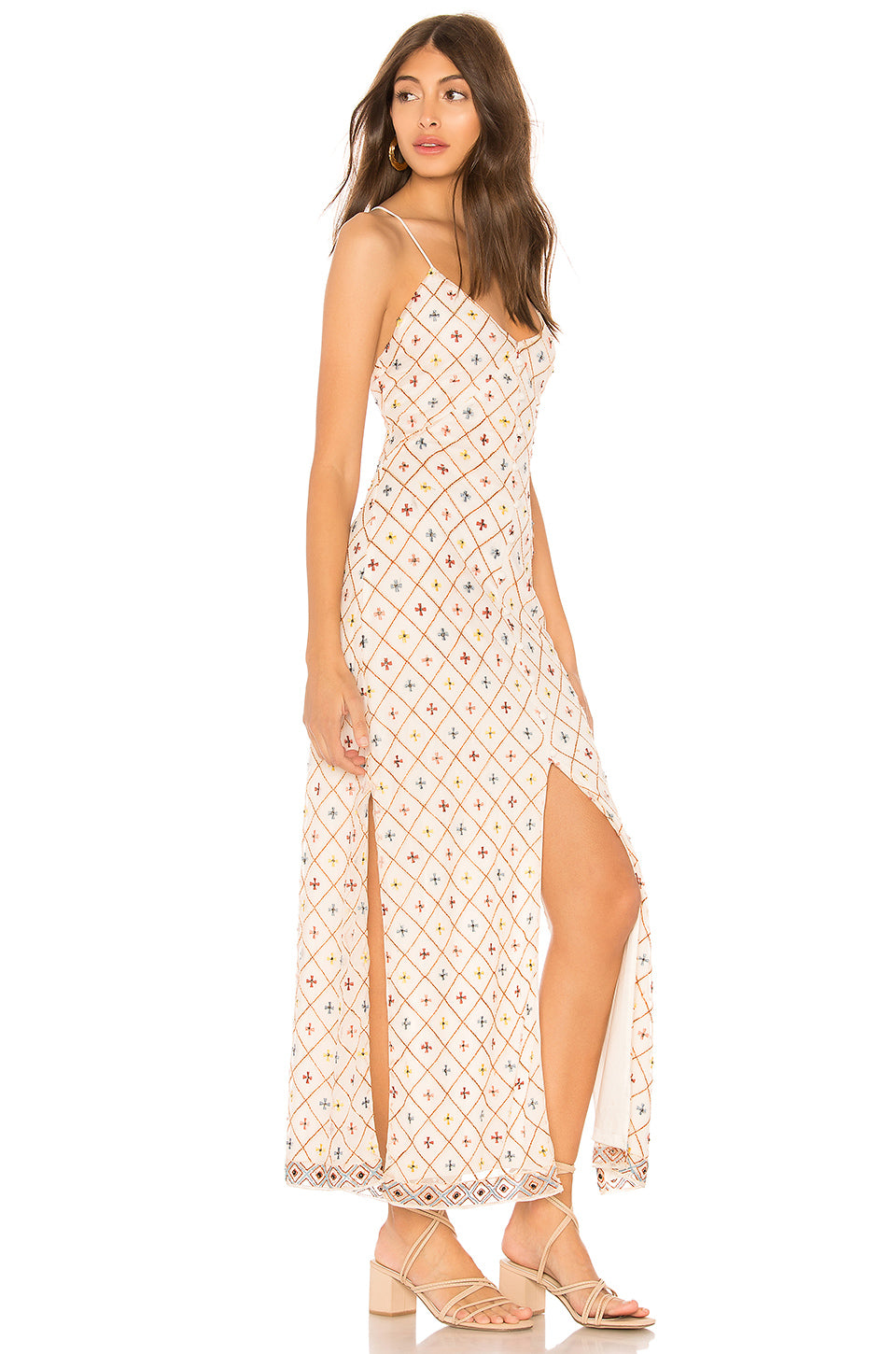 Linda Embroidered Dress in Cream. - size L (also in M,S,XS,XXS) Tularosa
