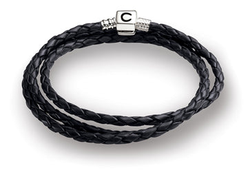 Ebony Braided Leather Wrap Bracelet - 1212-0004