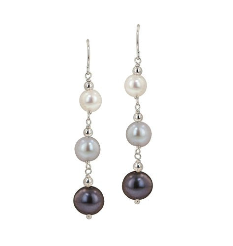 "Honora ""Tuxedo"" Freshwater Cultured Pearl Line Earrings"