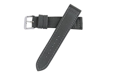 Hadley Roma MS850 20mm Grey Genuine Cordura Fabric Stitched Mens Watch Band