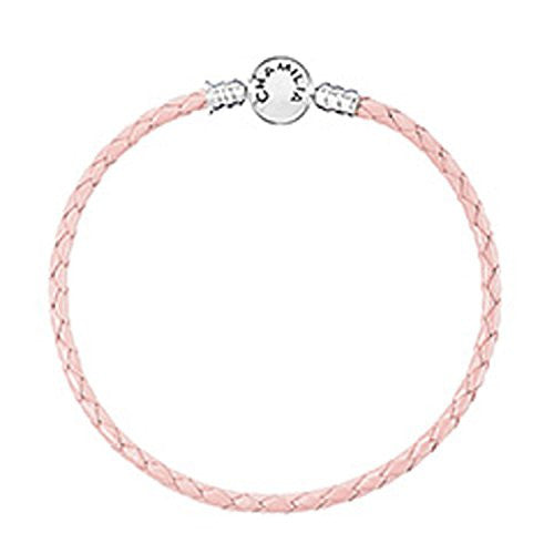 Braided Snap Closure Leather Bracelet - Blush - Small - 1030-0163