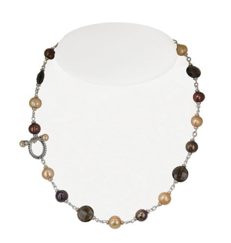 Honora Skinny Jeans Necklace/Smoky Quartz, Chocolate & Mocha Freshwater Pearls 18