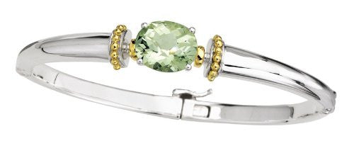 Colore Sterling Silver and 18K Gold Green Amethyst Bangle Bracelet LZB116-GA