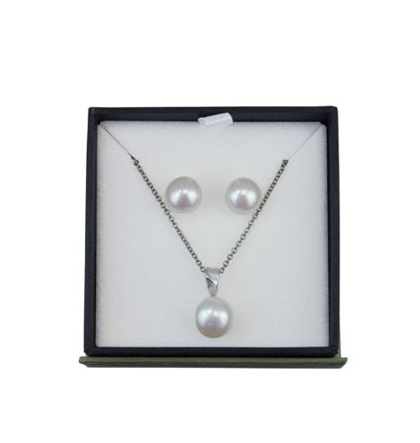 Honora Gift Set Silver & White Button Freshwater Cultured Pearl Earrings & Pearl Pendant LS5605WH