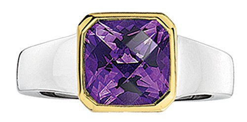 Colore Sterling Silver and 18K Gold Amethyst Ring LZR263-AM