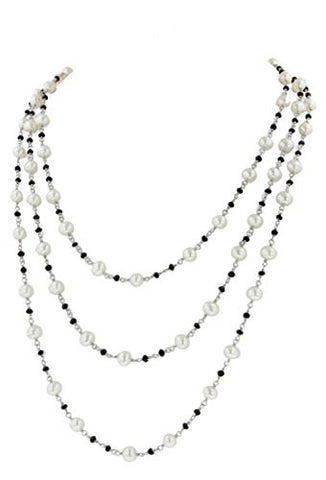 "Honora ""Black & White"" Sterling Silver & White Freshwater Cultured Pearl and Onyx 60"" Necklace LN5459WB60"