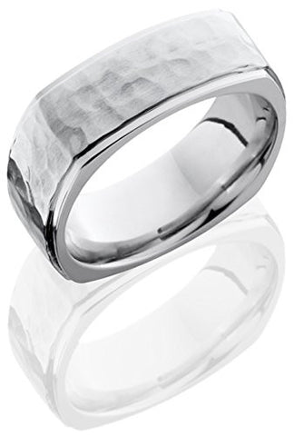 Lashbrook CC8FGESQ Hammered Finish EuroSquares Wedding Band - Cobalt Chrome