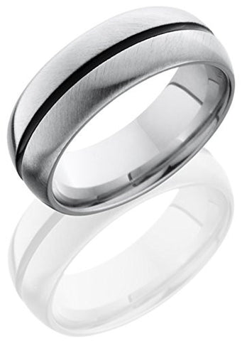 Lashbrook CC8D11A Lined & Double Angle Satin Finish Wedding Band - Cobalt Chrome