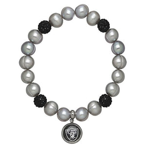 Honora Licensed NFL Oakland Raiders freshwater cultured pearl & crystal bracelet NFB7938OR75