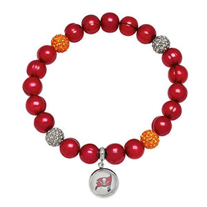 Honora Licensed NFL Tampa Bay Buccaneers freshwater cultured pearl & crystal bracelet NFB7938TB75