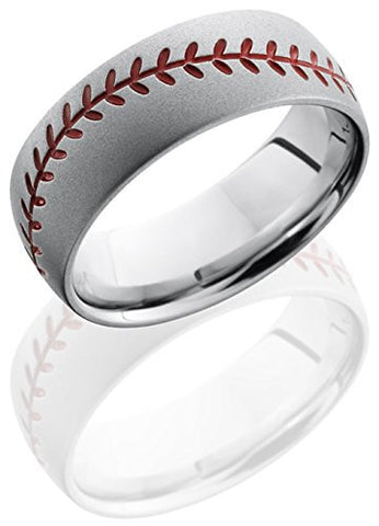Lashbrook CC8DBASEBALLA Baseball Wedding Band - Cobalt Chrome