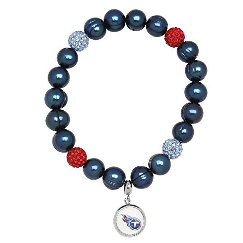 Honora Licensed NFL Tennessee Titans freshwater cultured pearl & crystal bracelet NFB7938TE75
