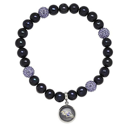 Honora Licensed NFL Baltimore Ravens freshwater cultured pearl & crystal bracelet NFB7938BR75