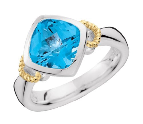 Colore Sterling Silver and 18K Gold Blue Topaz Ring LZR248-BT