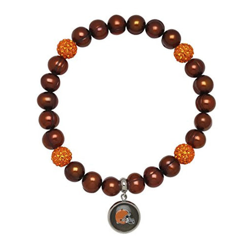 Honora Licensed NFL Cleveland Browns freshwater cultured pearl & crystal bracelet NFB7938CLB75