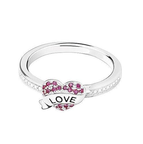 Authentic Chamilia Banner Heart Ring with Dark Red Swarovski Zirconia, Size 6- 1125-0329