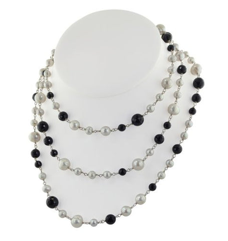 "Honora Eclipse Silver & White Freshwater Cultured Pearl w/Faceted Black Onyx 54"" Necklace LN5641WH54"