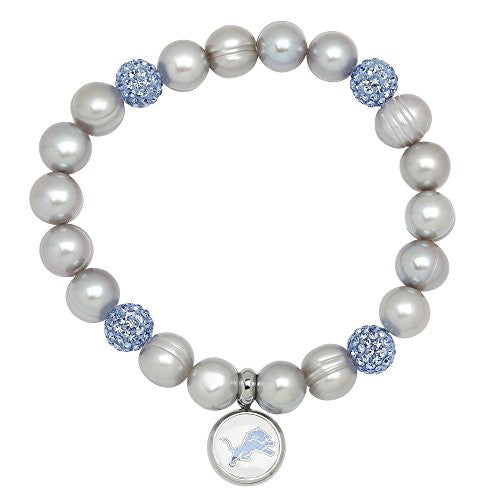 Honora Licensed NFL Detroit Lions freshwater cultured pearl & crystal bracelet NFB7938DL75