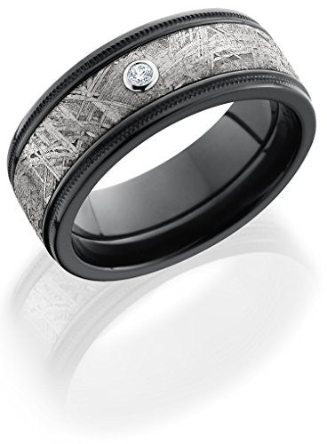 Lashbrook Z8.5FGEW2UMIL15/METEORITEDIA.05B Diamond, Meteorite Inlay, and Black Zirconium Wedding Band