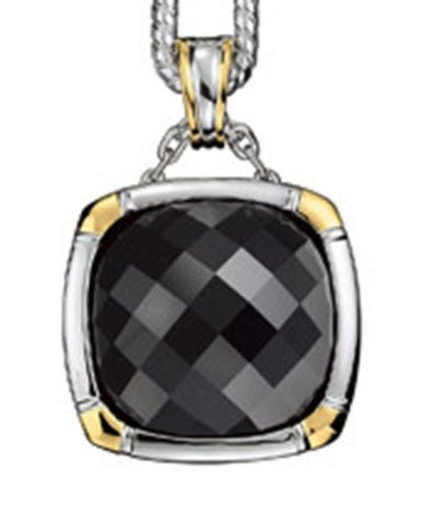 Colore Sterling Silver and 18K Gold Onyx Pendant LZP222-NX-NC