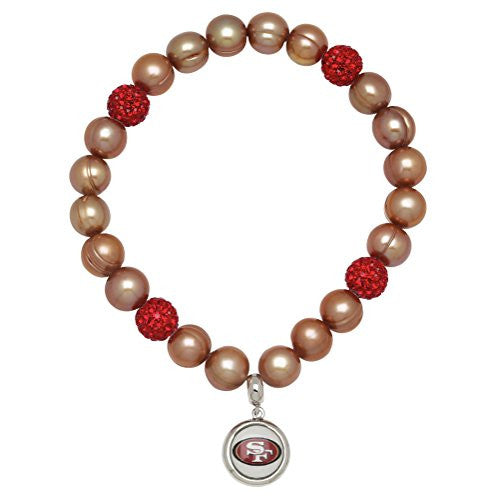 Honora Licensed NFL San Francisco 49ers freshwater cultured pearl & crystal bracelet NFB7938SF75