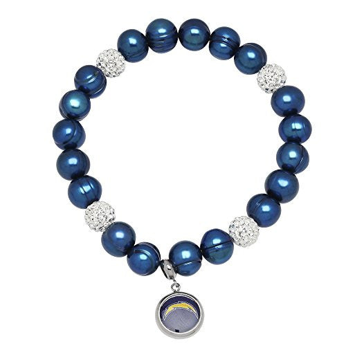 Honora Licensed NFL San Diego Chargers freshwater cultured pearl & crystal bracelet NFB7938CH75