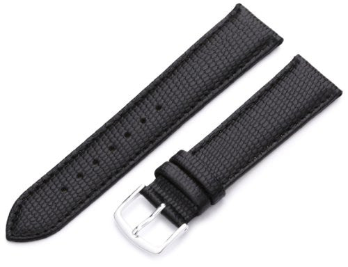 MS725 - 20 mm - Black Java Lizard Grain Genuine Italian Leather Strap by Hadley Roma
