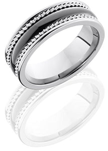 Lashbrook TCR8403 Faceted or Gear High Polish Wedding Band - Tungsten/Ceramic