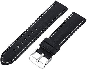 MS906 - 22 mm - Black Shrunken Grain Genuine Italian Leather Strap by Hadley Roma