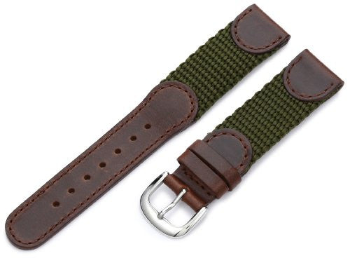MS866 - 18 mm -Brown & Olice Genuine Oil Tan Leather & Nylon Strap by Hadley Roma
