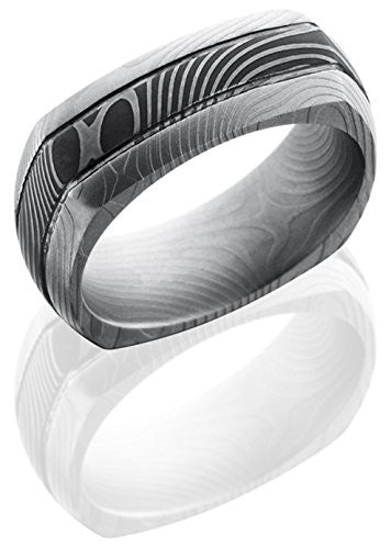 Lashbrook D8DSQ2.5FLATTWIST EuroSquare Wedding Band - Damascus Steel Inlay