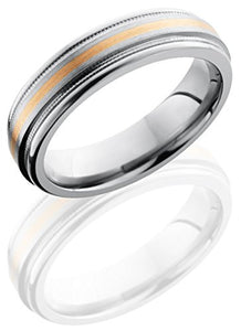 Lashbrook 6REF11/14KR2UMIL 14K Rose gold Satin & High Polish Wedding Band - Titanium & Rose Gold