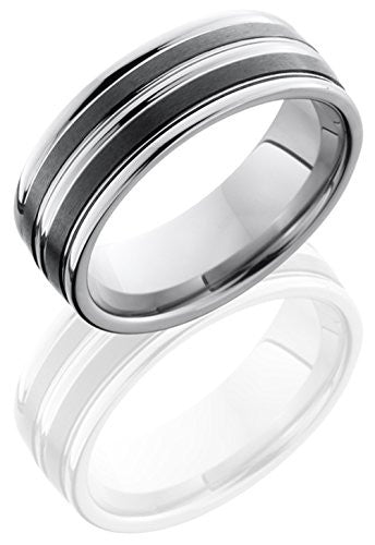 Lashbrook TCR8347 Stripped Satin Finish Wedding Band - Tungsten/Ceramic