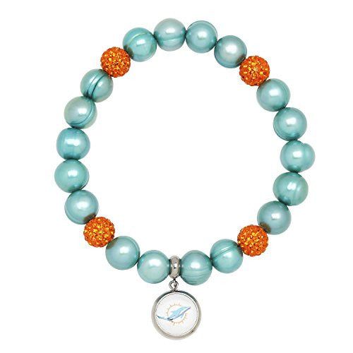 Honora Licensed NFL Miami Dolphins freshwater cultured pearl & crystal bracelet NFB7938MI75