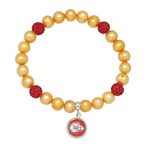Honora Licensed NFL Kansas City Chiefs freshwater cultured pearl & crystal bracelet NFB7938KC75