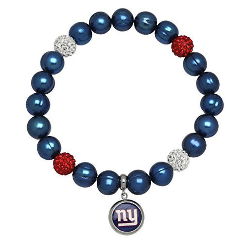 Honora Licensed NFL New York Giants freshwater cultured pearl & crystal bracelet NFB7938NYG75