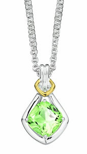 Colore Sterling Silver and 18K Gold Green Amethyst Pendant LZP265-GA