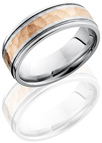 Lashbrook CC7.5FGEW2UMIL13/14KR Hammered Finish Wedding Band - 14K Rose Gold & Cobalt Chrome