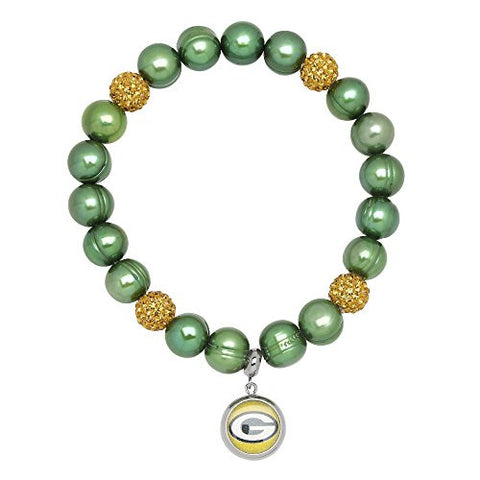 Honora Licensed NFL Green Bay Packers freshwater cultured pearl & crystal bracelet NFB7938GB75