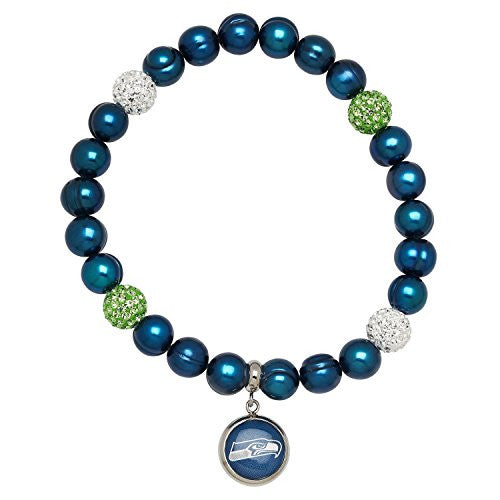 Honora Licensed NFL Seattle Seahawks freshwater cultured pearl & crystal bracelet NFB7938SE75