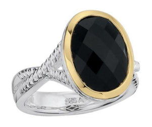 Colore Steling Silver and 18K Gold Onyx Ring LZR252-NX