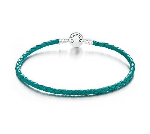 Braided Snap Closure Leather Bracelet - Teal - Large - 1030-0136