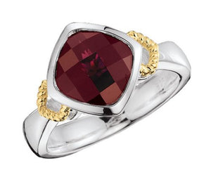 Colore Sterling Silver and 18K Gold Garnet Ring LZR248-GT