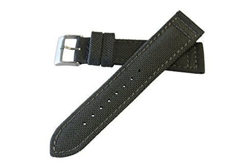 22mm Gray Genuine Cordura Hadley Roma Padded Stitched Watch Band Strap MS850