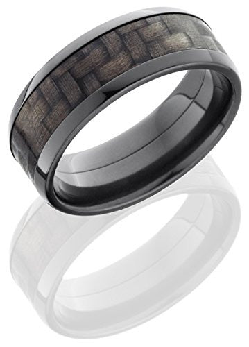 Lashbrook ZC8B15/CF Carbon Fiber Inlay Wedding Band - Zirconium