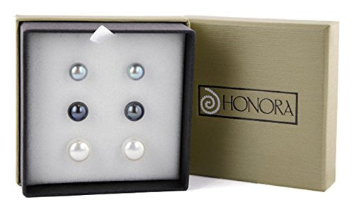 Honora Black, White, Gray 8-11 mm Freshwater Pearl Earrings set of 3, Sterling Silver LES5715BWG