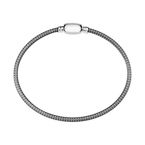 Oval Touch Bracelet Oxidized Grain Texture Small - 1010-0104