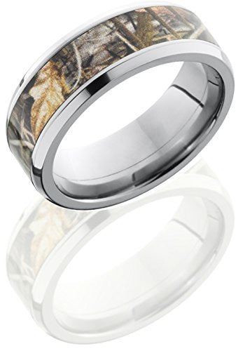 Lashbrook CAMO8B15/RTMAX4 Mossy Oak Camouflage Inlay Wedding Band - Titanium