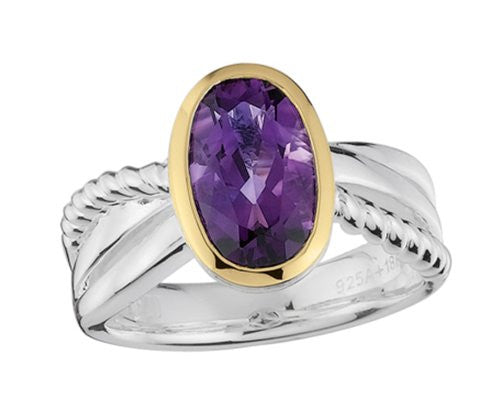 Colore Sterling Silver and 18K Gold Amethyst Ring LZR249-AM
